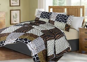 Printed-Animal-Designs-Bedspread-Coverlet-Quilt-2-3-Piece-Set-with-Pillow-Shams