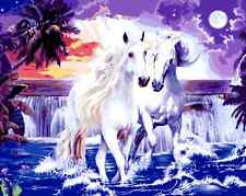 """16X20"""" DIY Acrylic Paint By Number kit Oil Painting On Canvas Horse Scenery 599"""
