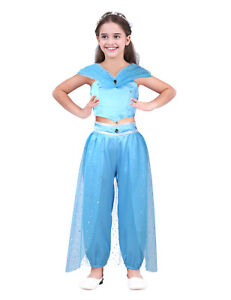 fc8cb88a1 Kids Aladdin Costume Princess Jasmine Cosplay Outfit Girls Party ...