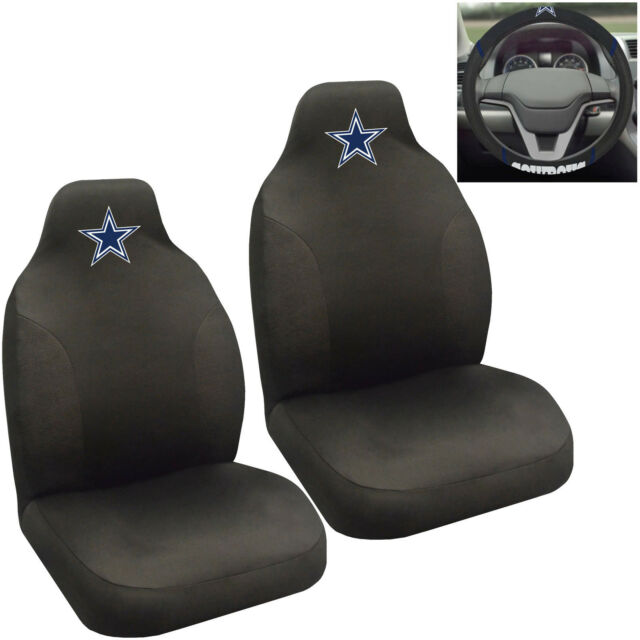 NFL Dallas Cowboys Car Truck 2 Front Seat Covers Steering Wheel Cover Set