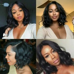 14 Inch 150 13x4 Lace Front Human Hair Wig Curly Black Preplucked Remy Ebay