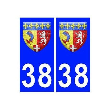 38 isere blason autocollant plaque -  Angles : droits