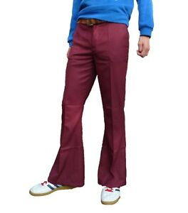 Mens-Burgundy-Red-Bell-Bottoms-Cotton-Dress-Pants-Mod-Trousers-vtg-Indie-60s-70s