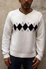 Tommy Hilfiger Mens Sweater Jumper Knit V Neck Wool  Cream M Top Argyle SUPER