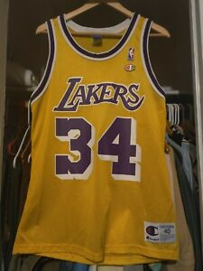 Details about Vintage Shaquille O'Neal Shaq NBA Los Angeles Lakers #34 Champion Jersey Size 40