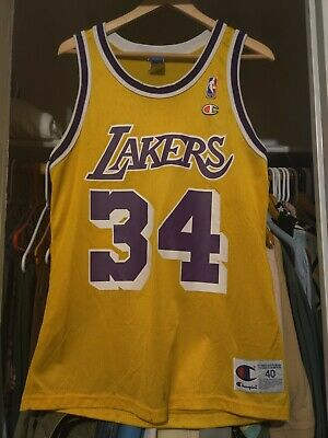 Vintage Shaquille O'Neal Shaq NBA Los Angeles Lakers #34 Champion Jersey Size 40 | eBay
