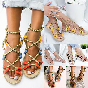 Ladies-Womens-Flat-Lace-Up-Strappy-Gladiator-Sandals-Summer-Fashion-Shoes-Sizes