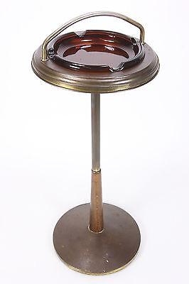 Mid Century Modern Cigar Smoke Stand Metal W/ Amber Glass Ashray & Wood Column