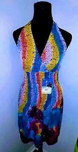 Multicolored-halter-sundress-spring-summer-beach-cruise-size-M-New