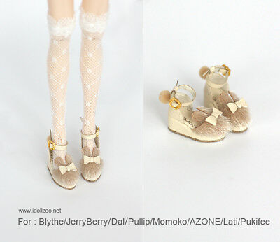 Fur rabbit slope shoes/_KHAKI for Blythe//DAL//Pullip//Momoko//AZONE//OB24//Lati y