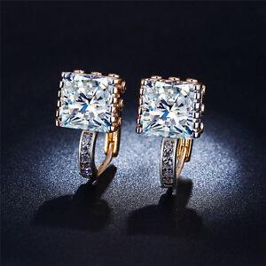 Cubic-Zirconia-CZ-Crystal-Huggie-Hoop-Earrings-18K-Yellow-Gold-Plated-Women