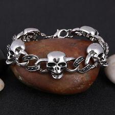 Skull Death Stainless Steel Black Enamel Silver Chain Bracelet Motorcycle Gift