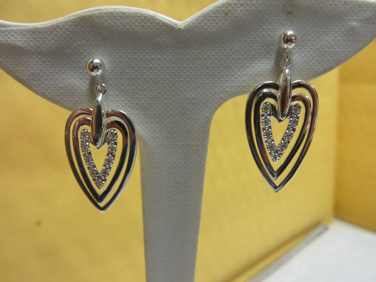 Fancy Heart Cubic Zirconia Dangle Post Earrings 1 3 8 Inch .925 SS  6.4 Grams