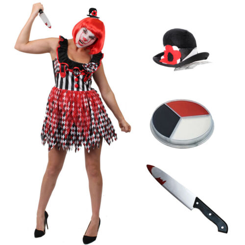 Donna Killer Clown Arlecchino Halloween Costume S M L XL Hat