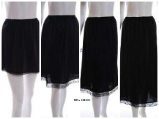 Ladies Black Ivory white waist half slip underskirt petticoat various lengths