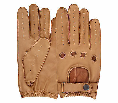 Mens Pair Of Classic Genuine Soft Nappa Leather Driving Gloves Dress Fashion Motorbike Vintage Style Black, Small