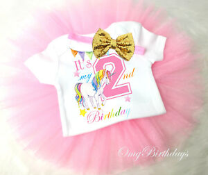 Image Is Loading Rainbow Unicorn Pink Gold 2nd Second Birthday Shirt