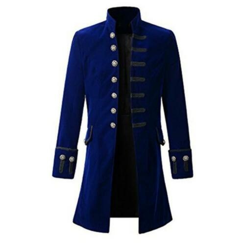 Men/'s Steampunk Militaire Trench Coat Long Jacket Gothic Stand col Outwear
