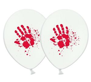 Halloween-Bloody-Hand-print-12-034-Printed-White-Latex-Balloons-Pack-of-25
