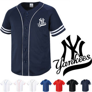 the best attitude 1b234 e9667 Details about NY New York Yankees Button Jersey Baseball Team Open T-Shirts  Sports Tee 1007