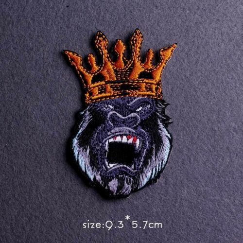 Punk Patch Iron On Sew King Lion Skull Bear Embroidery Clothes Patches Badge DIY