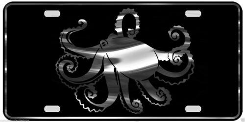 Octopus License Plate Spear Diving Fishing Chrome /& Regular Vinyl Choices