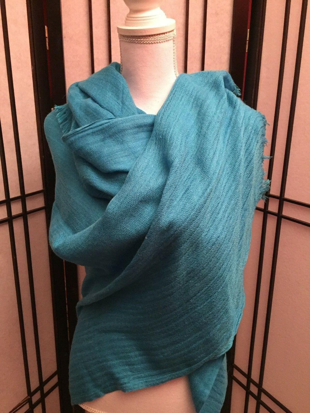 NWT Women's ANNE KLEIN Turquoise Blue Large Wrap Scarf Shawl with Fringe
