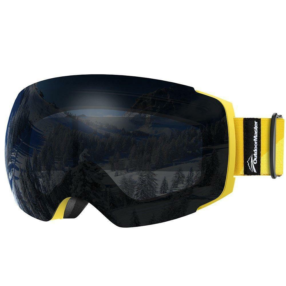OutdoorMaster Pro Ski Goggle - Frameless - Interchangeable Lens (Yellow Strap)