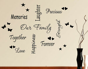 Details About WALL ART STICKER HEART QUOTE OUR FAMILY WORDS PHRASES SAYINGS HOME DECOR PACK