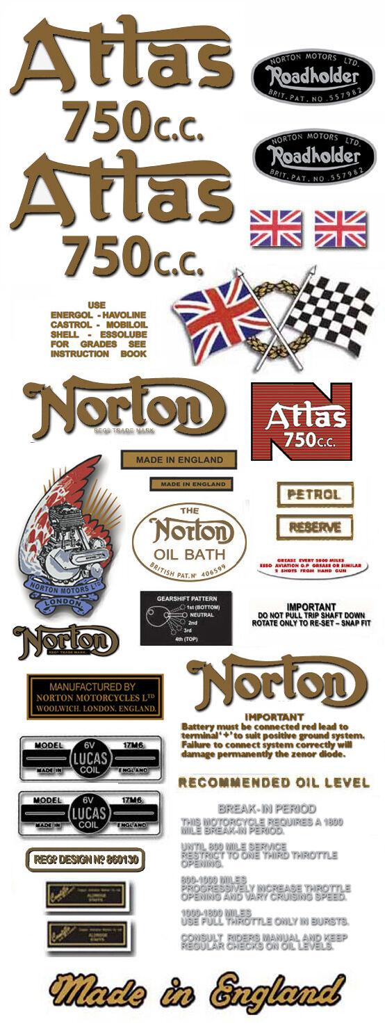 RESTORERS DECAL SET N15CS Atlas Hybrid Norton Atlas 750cc Hybrid