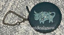 Coach Round Coin Purse Leo Horoscope Zodiac Sign Leather F87809 New