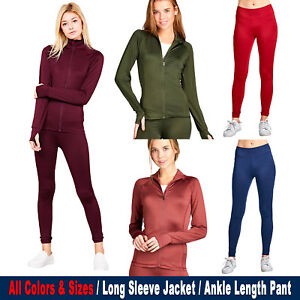Women-Active-Zip-Up-Sports-Yoga-Workout-Long-Sleeve-Top-Jacket-Ankle-Length-Pant