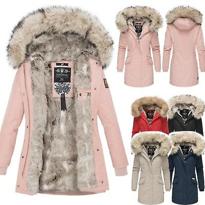 Navahoo Premium Luxus Parka Mantel Winter Jacke Damen Mega Kunstfell NEU Cristal   eBay