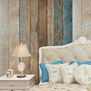 Vintage Wood Wallpaper Rolls Turquoise BlueSandBrown Wooden Plank
