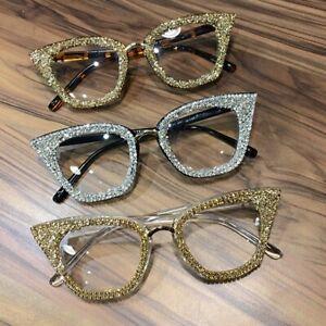 913111983873 2019 Vintage Cat Eye Glasses Frame Retro Women Crystal Clear Lens ...