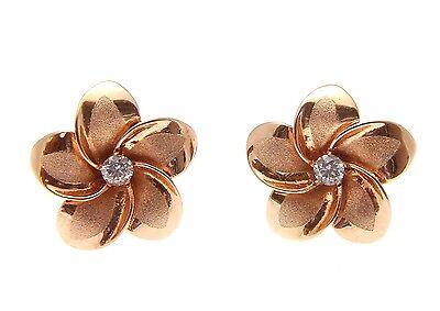 9mm Hawaiian Solid 14k Rose Gold Brushed Satin Fancy Plumeria Flower Pendant