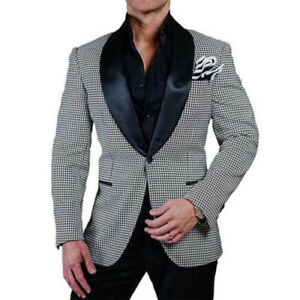 Men-039-s-Houndstooth-Paisley-Dinner-Blazer-Prom-Wedding-Black-Shawl-Lapel-Tuxedos