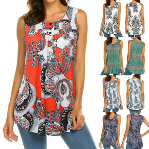 Women-039-s-Sleeveless-Print-Round-Neck-Blouse-Shirt-Casual-Flare-Tunic-Tank-Tops