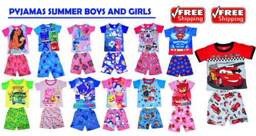NEW KIDS PYJAMAS SUMMER BOYS GIRLS OUTFIT TEES NIGHTIES SLEEPWEAR GIFT CHEAP