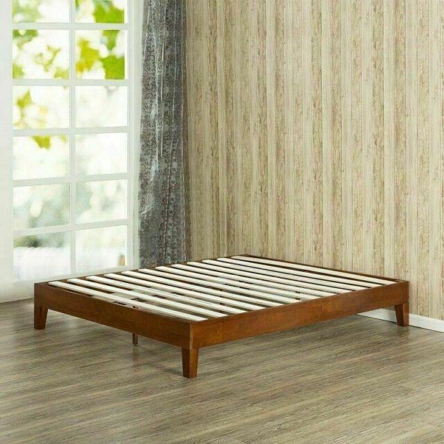 King Size Wood Platform Bed Frame Brown