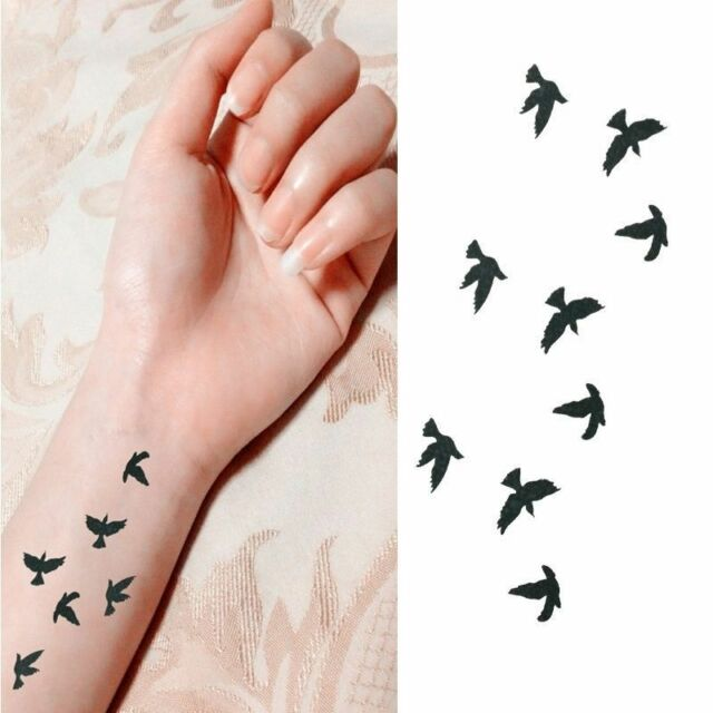2Pcs Sexy Temporary Small Birds Fly Waterproof Finger Wrist Tattoo Art Sticker
