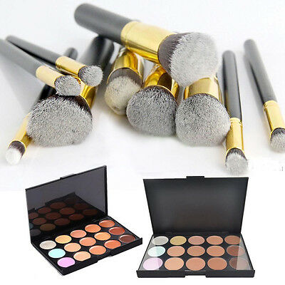 Pro Concealer Cream Palette 15 Colors 10Pcs Foundation Makeup Brush Black Kit US