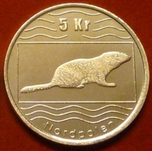 North Pole Norway 5 kronen 2012 UNC Beaver Wildlife Animal unusual coin