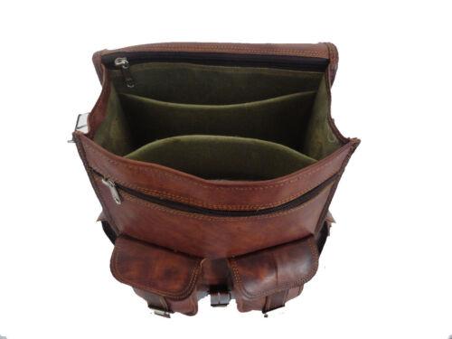 Mens Vintage Genuine Leather Laptop Backpack Rucksack Messenger Bag Satchel NEW