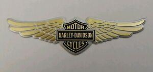 HARLEY-DAVIDSON-3D-METAL-BADGE-STICKER-GRAPHIC-DECAL-WINGS-LOGO-GOLD-ADHESIVE