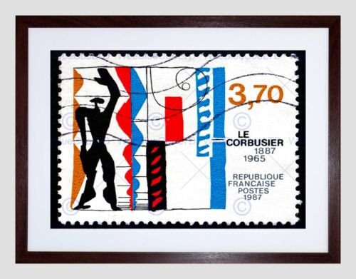 POSTAGE STAMP FRANCE 1987 WORKS OF LE CORBUSIER VINTAGE FRAMED PRINT B12X9127