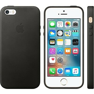 Genuine Apple Original Leather Case/Cover for iPhone 5/5S/SE (MMHH2ZM/A) - Black