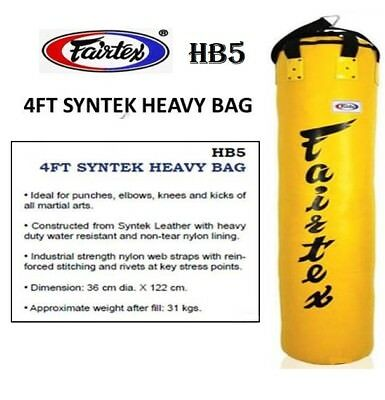 FAIRTEX HB5 HEAVY BAG BANANA 4FT MUAY THAI MMA BOXING UNFILLED EXPRESS SHIPPING