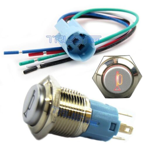 16mm LED Momentary Push Button Metal Switch Car Boat Speaker Horn 16mm Plug