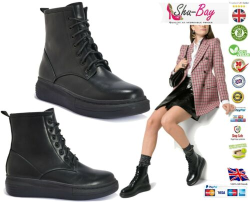 Womens Black Vegan Leather Boots Ladies Comfy Flat Chunky Sole Lace Booties Size